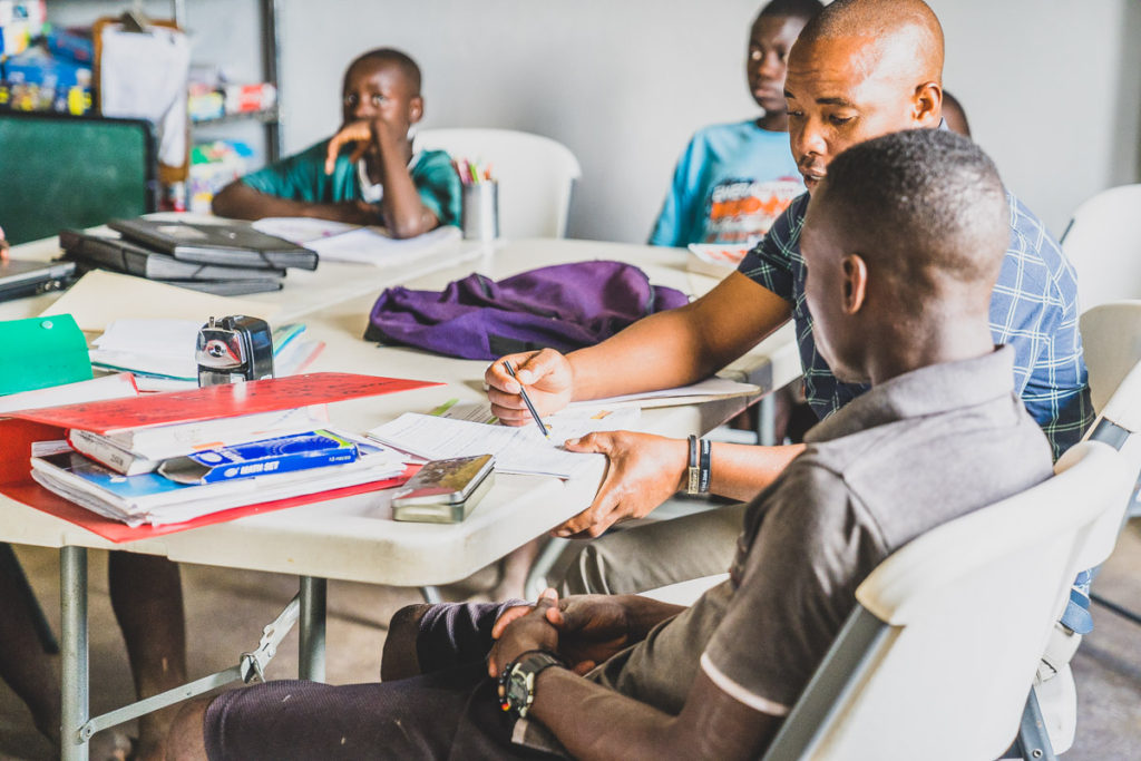 Zambia kids learning at school.